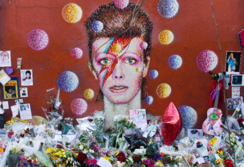 Peinture murale représentant David Bowie realisée par l'artiste James Cochran à Brixton, dans le Sud de Londres - Justin Tallis/AFP