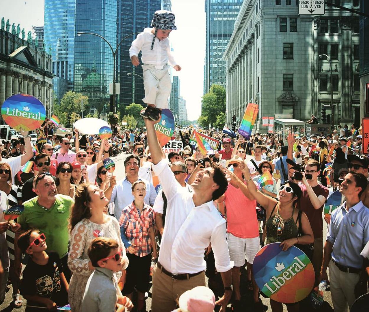 Montréal Pride, été 2015, compte Twitter de Justin Trudeau