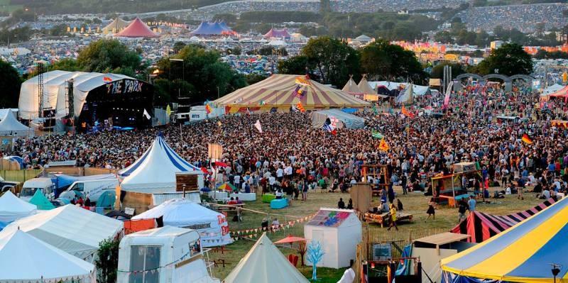 L'immense site du festival Glastonbury, dans le Sud de l'Angleterre, en 2009