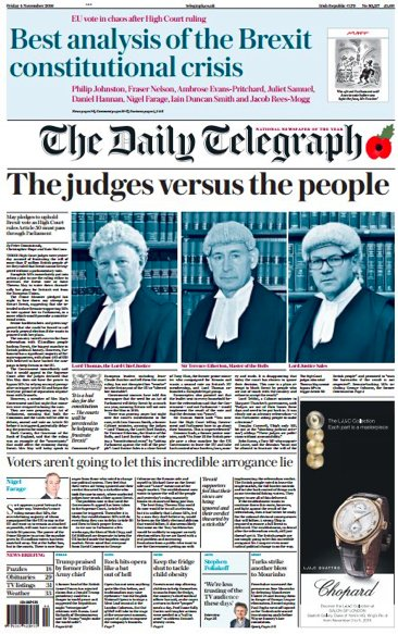 Cover of the Daily Telegraph