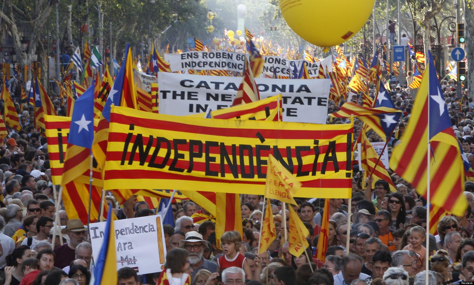 Manifestations à Barcelone pour l'indépendance catalane. Source : www.worldzine.fr