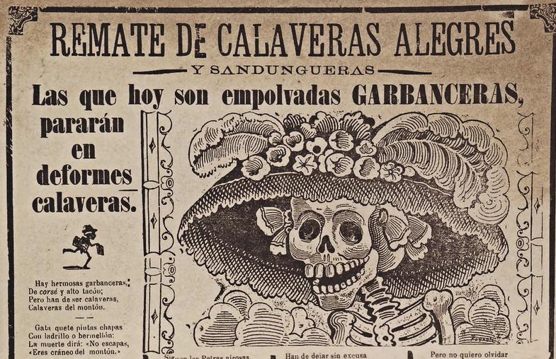 "La ""Cavalera Garbancera"", gravure sur métal de José Guadalupe Posada."