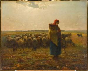 Bergère avec son troupeau, vers 1863