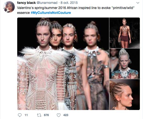 Pour dénoncer l'appropriation culturelle perpétrée dans le monde de la mode, un hashtag #MyCultureIsNotCouture avait été lancé sur Twitter