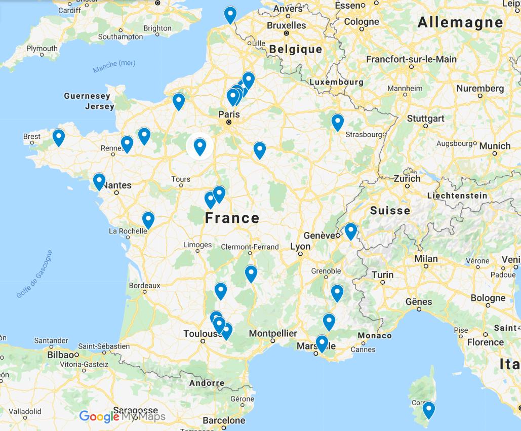 Carte des principales villes où les transports en commun sont gratuits